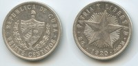 20 Centavos 1920 Kuba M#3193 - Cuba Silber sehr schön  12,00 EUR  zzgl. 4,00 EUR Versand