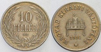 10 Filler 1914 K.B. Ungarn Franz Josef I. 1848-1916. Patina, fast vorzüglich