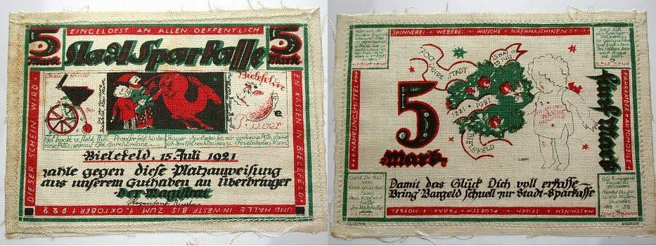 5 Mark 15.7.1921-1.10.1922 Bielefeld A.D.Vs. Leicht verschmutz, leicht gebraucht