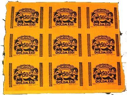 Originalbogen von 9 x 50 Goldmark 1923-12-15 Bielefeld Leicht gebraucht, Faltspuren
