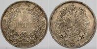 1 Mark 1883 A Kleinmünzen  Kleiner Randfehler, Patina, Stempelglanz  775,00 EUR kostenloser Versand