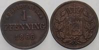 1 Pfennig 1866 Bayern Ludwig II. 1864-1886. Sehr schön  5,00 EUR  zzgl. 2,00 EUR Versand