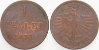 1 Heller 1851 Frankfurt  Sehr schön  8,00 EUR  zzgl. 2,00 EUR Versand