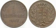 1/2 Kreuzer 1867 Württemberg Karl 1864-1891. Sehr schön  5,00 EUR  zzgl. 3,00 EUR Versand
