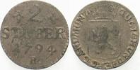 2 Stüber 1794 Jülich-Berg Karl Theodor 1742-1799. Fast sehr schön  55,00 EUR  zzgl. 5,00 EUR Versand