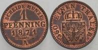1 Pfennig 1871 A Preußen Wilhelm I. 1861-1888. Patina, vorzüglich - Ste... 12,00 EUR  zzgl. 3,00 EUR Versand