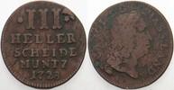 3 Heller 1728 Hessen-Kassel Karl. 1670-1730. Fast sehr schön  15,00 EUR  zzgl. 3,00 EUR Versand