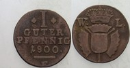 1 Guter Pfennig 1800 Schaumburg-Hessen Wilhelm IX. von Hessen-Kassel 17... 10,00 EUR  zzgl. 3,00 EUR Versand