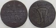 1 Heller 1805 Hessen-Kassel Wilhelm I. 1785-1821. Patina, leicht korro.... 10,00 EUR  zzgl. 3,00 EUR Versand