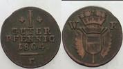 1 Guter Pfennig 1804 Hessen-Kassel Wilhelm II. 1821-1847 Sehr schön  15,00 EUR  zzgl. 3,00 EUR Versand