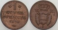 1 Guter Pfennig 1828 Hessen-Kassel Wilhelm II. 1821-1847 Sehr schön  10,00 EUR  zzgl. 3,00 EUR Versand