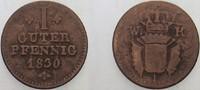 1 Guter Pfennig 1830 Hessen-Kassel Wilhelm II. 1821-1847 Fast sehr schön  12,00 EUR  zzgl. 3,00 EUR Versand