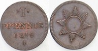 1 Pfennig 1819 Frankfurt  Vorzüglich  25,00 EUR inkl. gesetzl. MwSt., zzgl. 5,00 EUR Versand