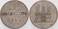 1 Sechsling 1855 Hamburg  Sehr schön  5,00 EUR  zzgl. 3,00 EUR Versand