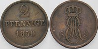 2 Pfennige 1850 B Hannover Ernst August 1837-1851. Sehr schön  8,00 EUR  zzgl. 3,00 EUR Versand