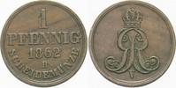 1 Pfennig 1862 B Hannover Georg V. 1851-1866. Sehr schön  4,00 EUR  zzgl. 3,00 EUR Versand