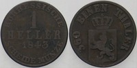 1 Heller 1843 Hessen-Kassel Wilhelm II. 1821-1847 Fast sehr schön  4,00 EUR  zzgl. 3,00 EUR Versand
