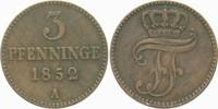 3 Pfennige 1852 A Mecklenburg-Schwerin Friedrich Franz II. 1842-1883. S... 4,00 EUR  zzgl. 3,00 EUR Versand