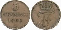 3 Pfennige 1860 A Mecklenburg-Schwerin Friedrich Franz II. 1842-1883. S... 5,00 EUR  zzgl. 3,00 EUR Versand