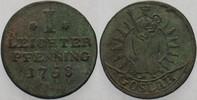 Leichter Pfennig 1758 Goslar-Stadt  Belag, fast sehr schön  20,00 EUR  zzgl. 3,00 EUR Versand