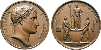 Bronzemedaille 1804 NAPOLEON UND SEINE ZEIT Napoleon I. / Kaiserkrönung in Paris vz-prfr, feine Tönung