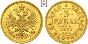 3 Rubel 1871 Rußland Alexander II. 1855-1881.. Seltenes, stempelglänzendes Prachtexemplar