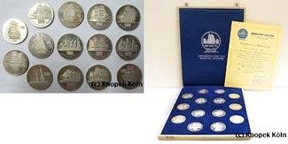 Lot 14x Silber-Medaillen Schiffsmotive O 1...