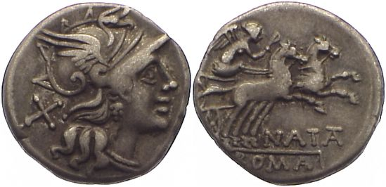Denar,  Republik Pinarius Natta ? 149 v. Chr.. sehr schön