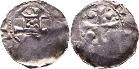 Pfennig Speyer, kaiserliche und königliche Münzstätte Anonym. 1. Hälfte des 11. Jahrhunderts. Prägeschwäche, etwas dezentriert, schön - sehr schön