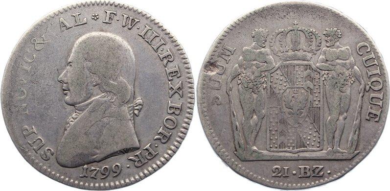 21 Batzen 1799 Brandenburg-Preußen Friedrich Wilhelm III. 1797-1840. kl. Schrötlingsfehler, fast sehr schön