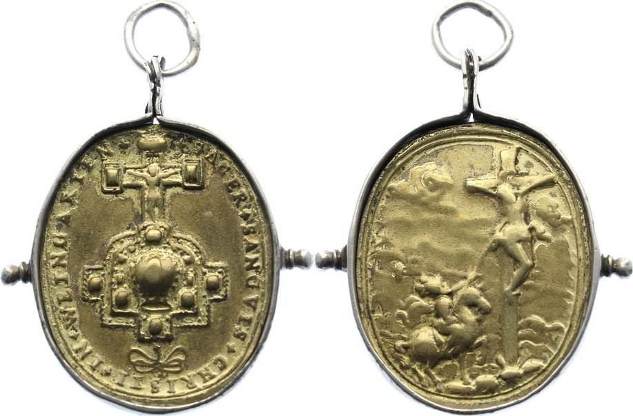 Vergoldete Bronzemedaille Weingarten fast sehr schön
