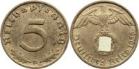 5 Reichspfennig 1936  D Drittes Reich Kursmünzen 1933-1945. sehr schön  90,00 EUR  zzgl. 3,50 EUR Versand