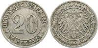 20 Pfennig 1892  G Kleinmünzen  sehr schön  80,00 EUR  zzgl. 3,50 EUR Versand