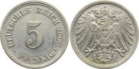5 Pfennig 1908  F Kleinmünzen  win. Kratzer, Polierte Platte  85,00 EUR  +  4,50 EUR shipping