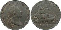 Cu Penny 1793 Bermuda  kl. Randfehler, fast sehr schön  175,00 EUR  +  4,50 EUR shipping