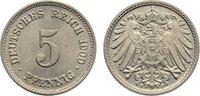 5 Pfennig 1900  F Kleinmünzen  fast Stempelglanz  35,00 EUR  zzgl. 3,50 EUR Versand