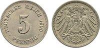 5 Pfennig 1900  A Kleinmünzen  kl. Kratzer, vorzüglich - Stempelglanz  10,00 EUR  zzgl. 1,00 EUR Versand