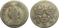 2 Mark 1671 Schweden Karl XI. 1660-1697. schön - sehr schön  85,00 EUR  zzgl. 3,50 EUR Versand