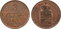 Cu 3 Pfennig 1837  G Sachsen-Albertinische Linie Friedrich August II. 1... 80,00 EUR  zzgl. 3,50 EUR Versand