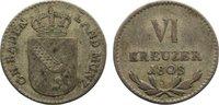 6 Kreuzer 1808 Baden-Durlach Karl Friedrich 1806-1811. sehr schön  35,00 EUR  zzgl. 3,50 EUR Versand