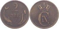 Cu 2 Öre 1 1883  CS Dänemark Christian IX. 1863-1906. fast sehr schön  8,00 EUR  zzgl. 1,00 EUR Versand