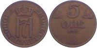 Cu 5 Öre 1 1912 Norwegen Haakon VII. 1905-1957. sehr schön  25,00 EUR  zzgl. 3,50 EUR Versand