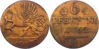 Cu 6 Pfennig 1762 Mecklenburg-Rostock, Stadt  zaponiert, kl. Kratzer, f... 25,00 EUR  zzgl. 3,50 EUR Versand