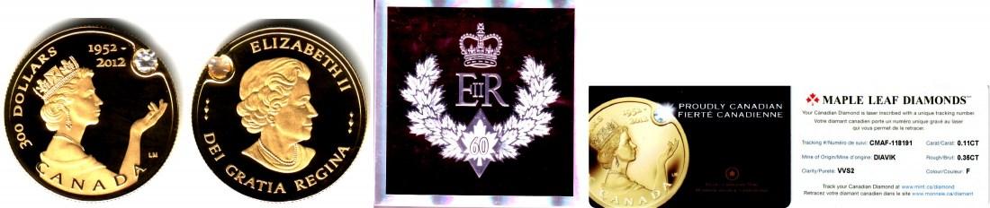 300 Dollar 2012 Kanada Goldmünze - 60. Krönungsjubiläum Königin Elisabeth II. mit Diamant PP mit Box + Echtheitszertifikat