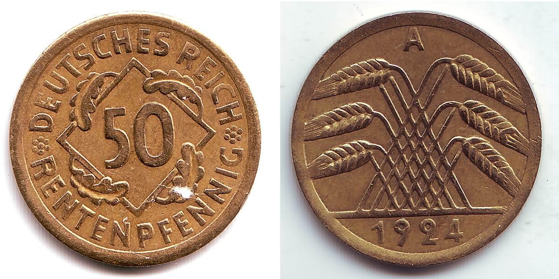 50 Rentenpfennig 1924 A Weimarer Republik 50 Rentenpfennig 1924 A VF-EF