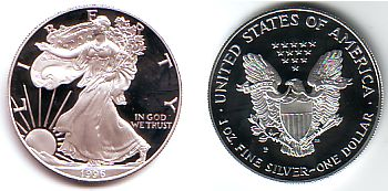 USA 1 Unze Silber Eagle PP in Original-Münzkapsel 1 Dollar 1996 PP