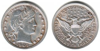 USA 1/4 Dollar 1901 vz+ Quarter - Barber