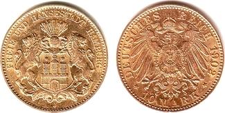10 Mark 1902 J Hamburg Behelmtes Wappensch...