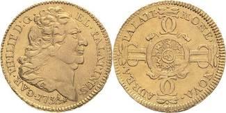 1/2 Karolin 1733 Pfalz - Kurlinie Karl Philipp (1716-1742) f.vz
