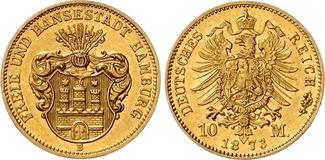 10 Mark 1873 B Hamburg Stadtwappen ohne Schildhalter, mit Blattornamenten eingerahmt. gutes vz